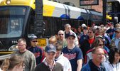 Light rail train at Target Field station for Twins game