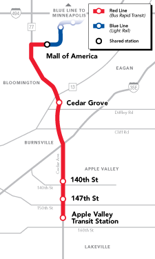 Map of METRO Red Line