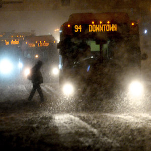Photo of buses in a snowstorm